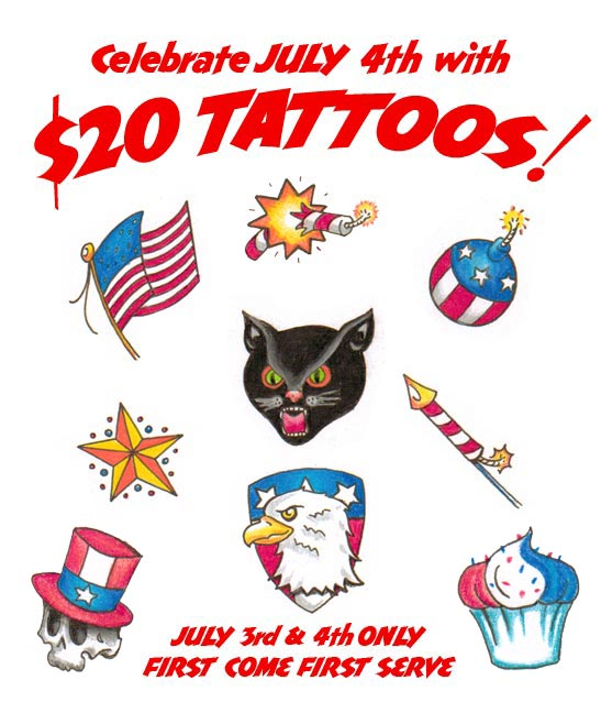 $20 Tattoos July 3rd And 4th Only &187 Snohomish Tattoo