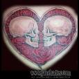 Heart surrounding skulls